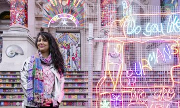 Arts and Culture - FESTIVAL GLOW: Chila Kumari Singh Burman poses in front of her installation at Tate  Britain (Photo: Joe Humphrys)
