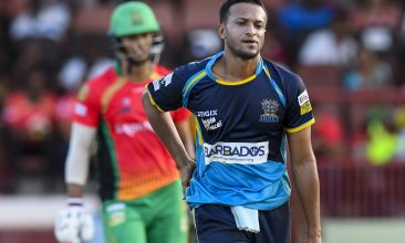 CRICKET - PROVIDENCE, GUYANA - OCTOBER 06: In this handout image provided by CPL T20,  Shakib Al Hasan (R) of Barbados Tridents express disappointment during the Hero Caribbean Premier League Play-Off match 32 between Guyana Amazon Warriors and Barbados Tridents at Guyana National Stadium on October 6, 2019 in Bridgetown, Barbados. (Photo by Randy Brooks - CPL T20/Getty Images)