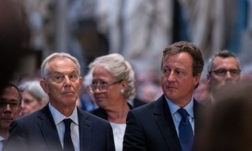 HEADLINE STORY - FILE PHOTO: Former Prime Ministers Tony Blair (L) and David Cameron (R) during a memorial service for Lord Ashdown at Westminster Abbey on September 10, 2019 in London, England. (Photo by Chris J Ratcliffe - WPA Pool / Getty Images)