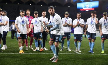 FOOTBALL - Adam Le Fondre of Sydney FC celebrates after Sydney FC defeated Melbourne City during the 2020 A-League Grand Final match between Sydney FC and Melbourne City at Bankwest Stadium on August 30, 2020 in Sydney, Australia. (Photo by Cameron Spencer/Getty Images)