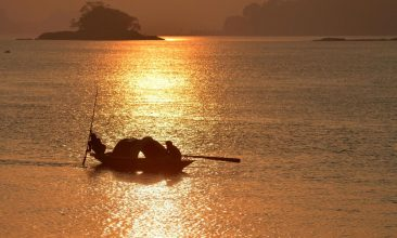 HEADLINE STORY - Fishermen paddle their boat in the waters of Brahmaputra River after selling their catch at a market during sunset in Guwahati on November 7, 2020. (Photo by BIJU BORO/AFP via Getty Images)