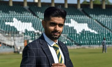 CRICKET - Pakistan's cricket team captain Babar Azam poses for photographs after a media briefing in Lahore on November 20, 2020, ahead of the team tour in New Zealand. (Photo by Arif ALI / AFP) (Photo by ARIF ALI/AFP via Getty Images)
