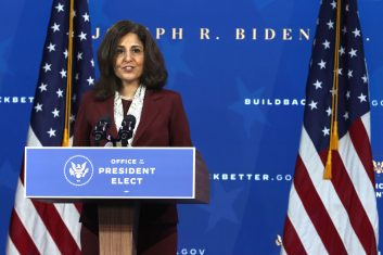 News - WILMINGTON, DELAWARE - DECEMBER 01: Director of the Office of Management and Budget nominee Neera Tanden speaks during an event to name President-elect Joe Biden's economic team at the Queen Theater on December 1, 2020 in Wilmington, Delaware. Biden is nominating and appointing key positions to the Treasury Department, Office of Management and Budget, and the Council of Economic Advisers. (Photo by Alex Wong/Getty Images)