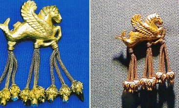 "Travel - Usak, TURKEY:  A combo picture released 14 June 2006 shows the original (L) and the fake (R) brooch from the so-called Lydian Hoard.  The theft of an ancient masterpiece from a Turkish museum -- with the suspected help of its director -- has sounded the alarm over Turkey's ability to protect its heritage, prompting inspections in public-run museums across the country.The scandal broke in May when the director of the Usak museum in western Turkey and six others were arrested, suspected of stealing a golden brooch in the shape of a winged seahorse from the so-called Lydian Hoard and replacing it with a fake. The embarrassment was compounded by the fact that the famed 2,500-year-old collection, known in Turkey as the ""Treasure of Croesus,"" was repatriated only in 1993 after a lengthy legal battle with New York's Metropolitan Museum of Art that reportedly cost 40 million dollars (31 million euros).  AFP PHOTO / IHLAS NEWS AGENCY  (Photo credit should read -/AFP via Getty Images)"