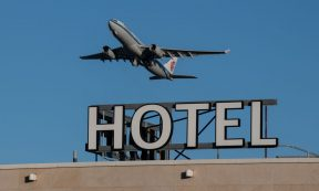HEADLINE STORY - An airplane passes over a Sofitel hotel as it takes off from a runway at Heathrow Airport on January 25, 2021 in London, England. (Photo by Chris J Ratcliffe/Getty Images)