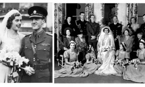 HEADLINE STORY - Patricia Mountbatten and John Brabourne on their wedding day; the couple with their friends and family, including the Queen (right) who was a bridesmaid in the ceremony