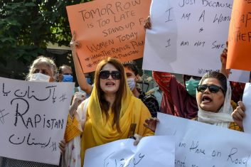 FEATURES - People march during a protest against an alleged gang rape of a woman, in Peshawar on September 12, 2020. (Photo by ABDUL MAJEED/AFP via Getty Images)