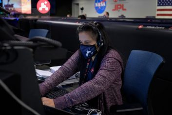 HEADLINE STORY - In this handout image provided by NASA, Perseverance Mars rover mission commentator and guidance, navigation, and controls operations Lead Swati Mohan studies data on monitors in mission control, February 18, 2021 at NASA's Jet Propulsion Laboratory in Pasadena, California.  (Photo by Bill Ingalls/NASA via Getty Images)