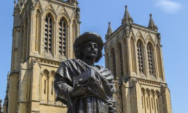Comment - A statue of historic Indian reformer Raja Rammohun Roy, outside the Bristol Cathedral