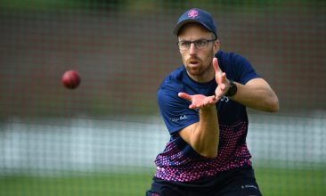India vs England series - TAUNTON, ENGLAND - JUNE 15: Somerset and England player Jack Leach takes part in a catching drill during a net session at The County Ground on June 15, 2020 in Taunton, England. (Photo by Stu Forster/Getty Images)