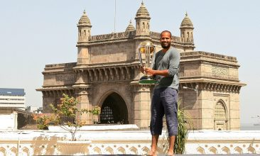 India vs England series - MUMBAI, INDIA - APRIL 03:  Yousuf Pathan of the Indian cricket team poses with the  ICC Cricket World Cup Trophy, with the Gateway of India in the backdrop, during a photo call at the Taj Palace Hotel on April 3, 2011 in Mumbai, India.  (Photo by Ritam Banerjee/Getty Images)
