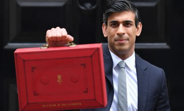 HEADLINE STORY - Britain's Chancellor of the Exchequer Rishi Sunak poses with the Budget Box as he leaves 11 Downing Street before presenting the government's annual budget to Parliament in London on March 3, 2021. (Photo by JUSTIN TALLIS/AFP via Getty Images)