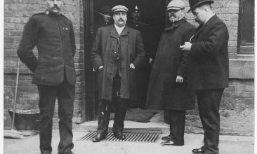 FEATURES - TRUE STORY: Inspector Campbell (second from left) and two other policemen outside a house in Great Wyrley, investigating the case of George Edalji.  (Photo credit: Credit: Staffordshire Records Office)