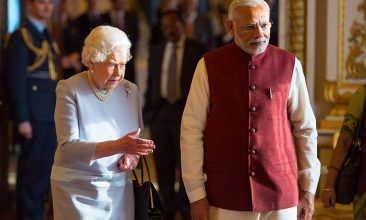 INDIA - FILE PHOTO: Queen Elizabeth II and Indian Prime Minister Narendra Modi view items from the Royal Collection at Buckingham Palace on the second day of his visit to the UK on November 13, 2015, in London, England. (Photo by Dominic Lipinski - WPA Pool/Getty Images)