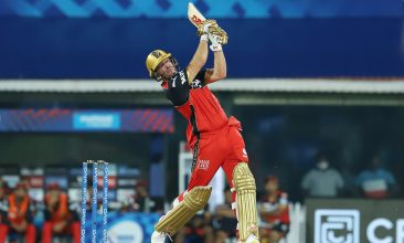 CRICKET - AB de Villiers plays a shot during Bangalore's match against Mumbai in IPL 2021. (PTI Photo)