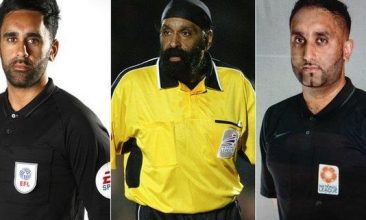 FOOTBALL - Jarnail Singh (centre) and referee sons Bhups and Sunny Singh Gill. (Image: Twitter@SikhPA)