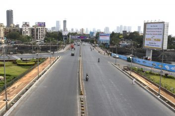 Coronavirus - Deserted roads are seen on Bandra during a weekend lockdown imposed by the state government amidst rising Covid-19 coronavirus cases, in Mumbai on April 10, 2021. (Photo by Sujit Jaiswal / AFP) (Photo by SUJIT JAISWAL/AFP via Getty Images)