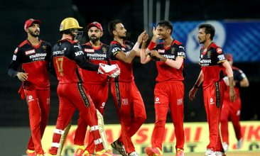 IPL 2021 - Royal Challengers Bangalore celebrate the wicket of Jonny Bairstow. (PTI Photo)