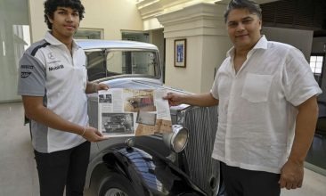 HEADLINE STORY - Galle Face Hotel chairman Sanjeev Gardiner (R) and his son Seshaan pose with the 1935 Standard Nine vintage car which is claimed to be owned and the first car of Prince Philip (not pictured) now acquired by the Gardiner family in Colombo on April 14, 2021. (Photo by ISHARA S. KODIKARA/AFP via Getty Images)