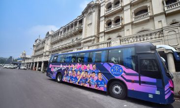 CRICKET - Rajasthan Royals team bus parked outside a city hotel in Kolkata. (PTI Photo)