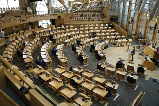 HEADLINE STORY - David McGill, Clerk/Chief Executive of the Scottish Parliament welcomes newly elected MSP's to the chamber at Holyrood on May 10, 2021 in Edinburgh, Scotland. (Photo by Andrew Cowan - Pool/Getty Images)