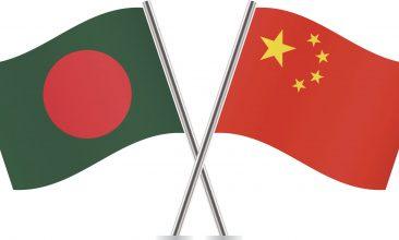 BANGLADESH - Chinese and Bangladeshi flags. Vector illustration.