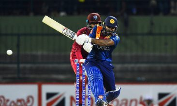 CRICKET - Sri Lanka's Kusal Perera plays a shot during the second Twenty20 international cricket match of a two-match series against the West Indies at the Pallekele International Cricket Stadium in Kandy on March 6, 2020. (Photo by ISHARA S. KODIKARA/AFP via Getty Images)