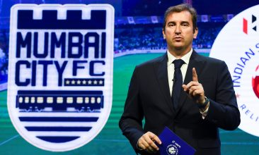 FOOTBALL - English Premier League football club Manchester City and City Football Group (CFG) CEO Ferran Soriano speaks during an event in Mumbai on November 28, 2019. - The owners of English Premier League champions Manchester City on Thursday made Mumbai City FC of India the eighth club in their global football empire. (Photo by INDRANIL MUKHERJEE / AFP) (Photo by INDRANIL MUKHERJEE/AFP via Getty Images)