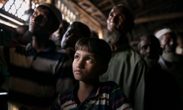 BANGLADESH - Rohingya refugees watch ICJ proceedings at a restaurant in a refugee camp on December 12, 2019 in Cox's Bazar, Bangladesh. (Photo by Allison Joyce/Getty Images)