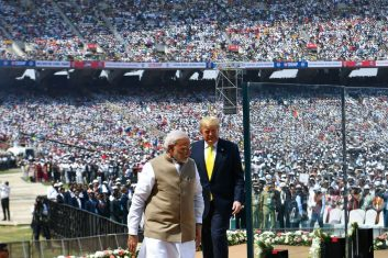 HEADLINE STORY - US President Donald Trump (R) and India's Prime Minister Narendra Modi arrive to attend 'Namaste Trump' rally at Sardar Patel Stadium in Motera, on the outskirts of Ahmedabad, on February 24, 2020. (Photo by MANDEL NGAN/AFP via Getty Images)