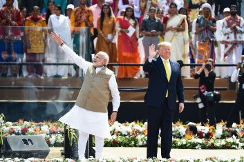 News - US president Donald Trump (R) and India's prime minister Narendra Modi wave at the crowd during 'Namaste Trump' rally at Sardar Patel Stadium in Motera, on the outskirts of Ahmedabad, on February 24, 2020. (Photo by Money SHARMA / AFP)