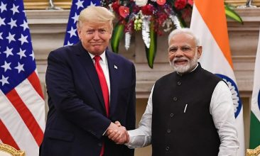 HEADLINE STORY - India's prime minister Narendra Modi (R) shakes hands with US president Donald Trump before a meeting at Hyderabad House in New Delhi on February 25, 2020 (Photo: MANDEL NGAN/AFP via Getty Images).