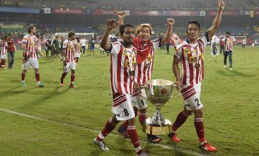 FOOTBALL - ATK players celebrate the win. (SAJJAD HUSSAIN/AFP via Getty Images)
