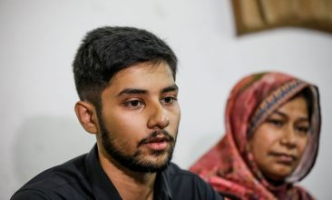 BANGLADESH - Monorom Palak, son of journalist Shafiqul Islam Kajol who recently disappeared, speaks to media representatives at the National Press club in Dhaka on March 13, 2020. Photo by STR/AFP via Getty Images)