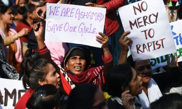 FEATURES - Social activists and supporters shout slogans to protest against the alleged rape and murder of a 27-year-old veterinary doctor in Hyderabad, during a demonstration in New Delhi on December 3, 2019. (Photo by Sajjad  HUSSAIN / AFP) (Photo by SAJJAD  HUSSAIN/AFP via Getty Images)
