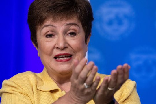 Business - FILE PHOTO: IMF Managing Director Kristalina Georgieva speaks at a press briefing on COVID-19 in Washington. (Photo by NICHOLAS KAMM/AFP via Getty Images)