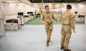 Coronavirus - Military personnel is seen at ExCel London, during its conversion into the temporary NHS Nightingale Hospital, comprising of two wards, each of 2,000 people, to help tackle the coronavirus disease (Covid-19) outbreak, in London, Britain on March 31, 2020. As on date, the UK registered over 25,000 Covid-19 cases and 1,829 deaths. (Photo: Stefan Rousseau/Pool via REUTERS)